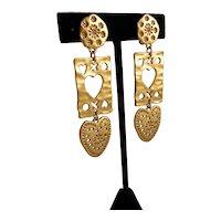 Pretty Matte Gold Tone Avon Heart Dangle Earrings, Clip Backs