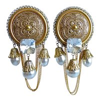 Large Gold Tone Glam Earrings with White Faux Pearl Drops and Crystal, Clip Backs
