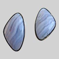 Vintage Blue Lace Agate Freeform Earrings, Clip Backs