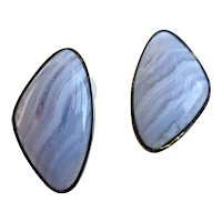 Vintage Blue Lace Agate Freeform Earrings, Clip Backs