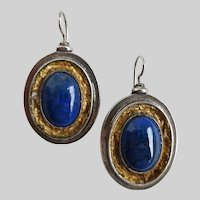 Handcrafted Sterling Silver Lapis Lazuli Oval Drop Earrings