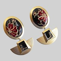 Huge, Extravagant Enamel and Gold Tone Earrings, clip Backs