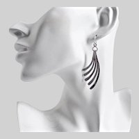 Sterling Silver Handcrafted Earrings of Graceful Curved Strips
