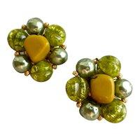 Hattie Carnegie Green Beaded Button Earrings 1950s, Clip Backs