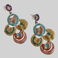 "Drop Earrings of Colorful ""Stoned"" Circles, Posts"
