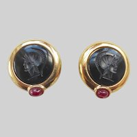 Black Intaglio Glass Roman Centurion Portrait Earrings, Clip Backs