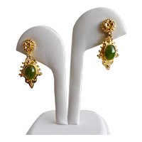 Hobé Gold Tone Drop Earrings, Nephrite Jade Cabochon, Screw Clips