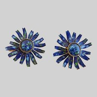 Vintage Earrings of Speckled Blues and Green Hard Enamel Flowers, Clips