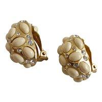 Faux Angel Skin/White Coral Cabochon Earrings, Clip Backs