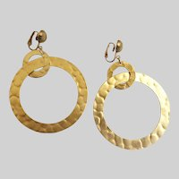 Large Matte Gold Tone Drop Hoop Earrings, Clip Backs