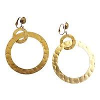 Large Matte Gold Tone Drop Hoop Earrings, Clip Backs