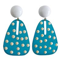 Earrings of Turquoise Enamel with White Polka Dots, Pierced