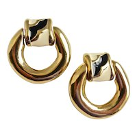 GIVENCHY Paris, New York Large Sleek Gold Tone Hoop Earrings, Clip Backs