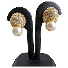 Earrings of Pavé Rhinestones with Faux White Pearls, Clip Backs