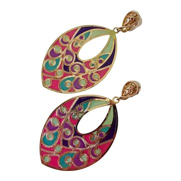 Crown Trifari Drop Earrings of Translucent Enamel and Gold Tone, Clips