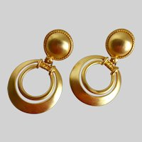 Matte Brushed Gold Tone Drop Hoop Earrings, Clip Backs
