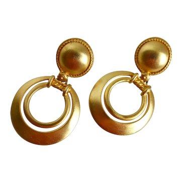 Matte Brushed Gold Tone Drop Hoop Earrings, Clip Backs