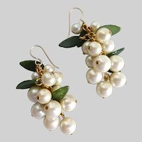 Handcrafted Hanging Cluster of Creamy Faux Pearls and Green Leaves