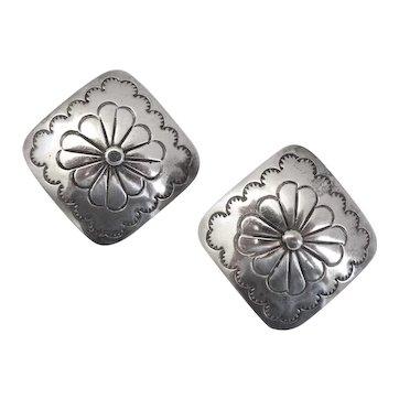 Southwestern Style Concho Sterling Silver Earrings, Post Back