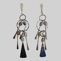 Long Drop Earrings of Sterling Silver with Faceted Labradorite, 14K Post
