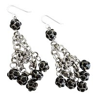 Drop Cluster Earrings of Black Crystal Rhinestone Balls on Antiqued Silver tone Chain