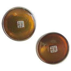 Classic Givenchy Button Earrings of Brown/Bronze Enamel, Clip Backs