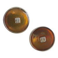 Givenchy Button Logo Earrings of Brown/Bronze Enamel, Clip Backs