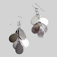 Sterling Silver Artisan Earrings of Shiny Flat Teardrops