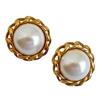 Classic Carolee White Faux Pearls Framed with Gold Tone Chain, Clip Backs