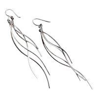 Artisan Drop Earrings of Five Thin Graceful Lengths of Sterling Silver