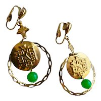 Long Asian Themed Coin Drop Earrings, Clip Backs