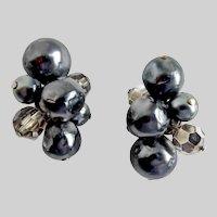 Hattie Carnegie Grey Baroque Faux Pearls with Grey Crystal, Clip Backs