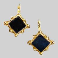 Vintage Black Onyx Lever Back Earrings