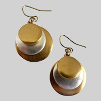 Ralph Lauren Signed Earrings of Matte Silver and Gold Tone Drop Discs
