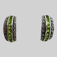 Peridot and Marcasite Sterling Silver Half Hoop Earrings