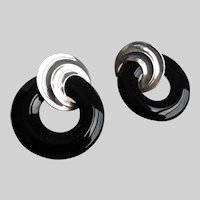 Peter Brams Designs Signed Earrings of Sterling Silver and Black Onyx