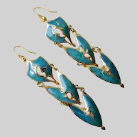 Edgar Berebi Long Articulated Enamel Earrings