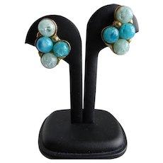 Vintage Signed Kramer Turquoise and Blue Clip Back Earrings