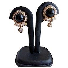 Black and Rhinestone Crystal Earrings, Deco Style,  Clip Backs