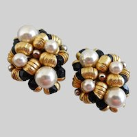 Chunky Earrings of Black Crystal, Faux Pearls  and GoldTone,  Clip Backs