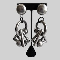 Giant Funky Geometric Earrings in Pewter Tones, Clip Backs