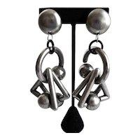 Giant Funky Geometric Earrings in Pewter Tones, Clip Backs
