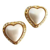 Joan Rivers Heart Shaped Faux Pearl Earrings, Clip Backs