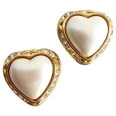 Joan Rivers Heart Shaped Faux Pearl Earrings, Clip Backs