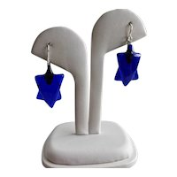 Six Pointed Star Drop Earrings of Molded Cobalt Blue Glass, Sterling Silver