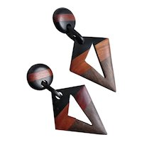 Hand Crafted Drop Earrings of Natural Three Tone Woods, Post Back
