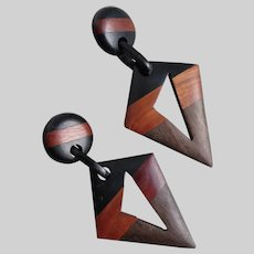 Modernist Hand Crafted Drop Earrings of Natural Three Tone Woods