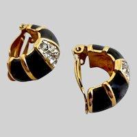 Vintage NINA RICCI Black Enamel and Rhinestone Half Hoop Earrings, Clips