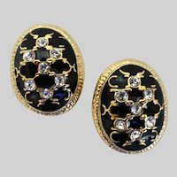 Clip Back Oval Earrings of Black Enamel, Rhinestones and Gold Tone
