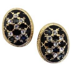 Clip Back Oval Earrings of Black Enamel, Rhinestones and Gold Tone
